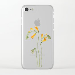 orange freesia watercolor Clear iPhone Case