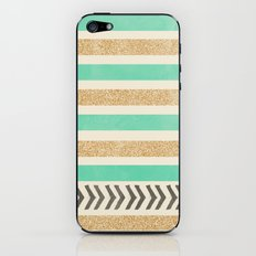 MINT AND GOLD STRIPES AND ARROWS iPhone & iPod Skin