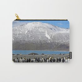 Snowy mountain with King Penguins in the Foreground Carry-All Pouch