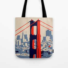 Golden gate bridge vector art Tote Bag