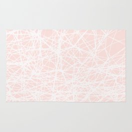 Contemporary  White Line Art on Pink-Mix & Match with Simplicity of life Rug