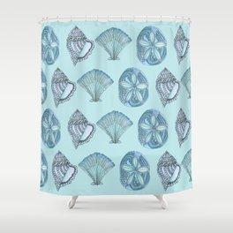 Watercolor Seashells Aqua Background  Shower Curtain