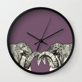 Scottish Blackface Sheep, pen and ink illustration, heather purple Wall Clock
