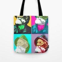 lichtenstein Tote Bags featuring Warhol, Lichtenstein & The Fisherman by Christoffer Dupont