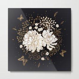 Hand drawn vintage bouquet flower on dark background illustration Metal Print