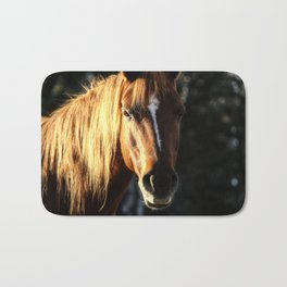 Golden Arabian Pony Portrait Bath Mat