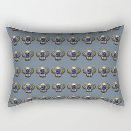 Egyptian Beetle Pattern (blue/grey) Rectangular Pillow