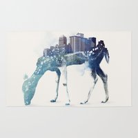 city Area & Throw Rugs featuring City Deer by Robert Farkas