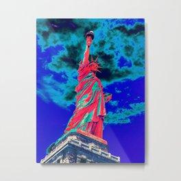 Futuristic red statue of liberty Metal Print