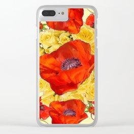 ORANGE POPPY FLOWERS GARDEN YELLOW ROSES ART Clear iPhone Case