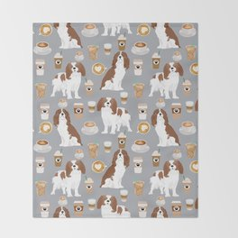 Cavalier King Charles Spaniel coffee lover custom pet portrait by pet friendly dog breeds Throw Blanket