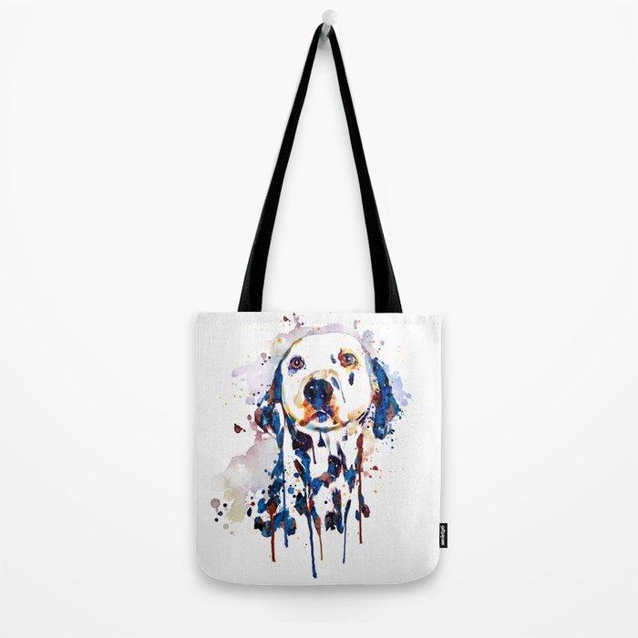 Dalmatian Head Watercolor Portrait Tote Bag