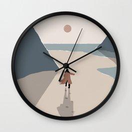 Woman Running towards the Sun Wall Clock