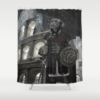 gladiator Shower Curtains featuring Neapolitan Mastiff Gladiator  by Barruf