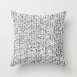 Hieroglyphics B&W / Ancient Egyptian hieroglyphics pattern Throw Pillow
