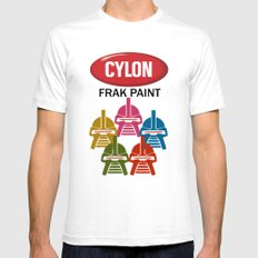 Cylon Frak Paint LARGE White Mens Fitted Tee