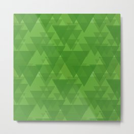 Gentle green triangles in intersection and overlay. Metal Print