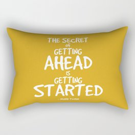 Secret to Getting Ahead Quote - Twain Rectangular Pillow