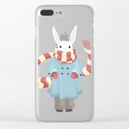 Bunny Brother Out On A Winter Day Clear iPhone Case