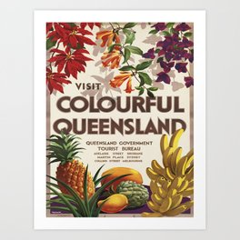 Vintage poster - Queensland Art Print