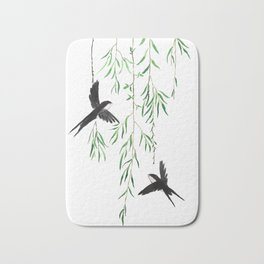 green willow leaf and swallow watercolor Bath Mat
