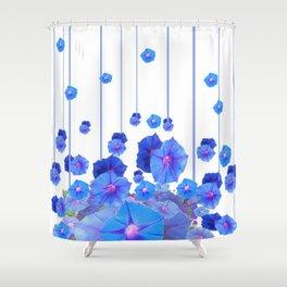 BABY BLUE MORNING GLORIES RAIN ABSTRACT ART Shower Curtain