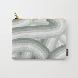Elegant Gray Green Stripes Carry-All Pouch
