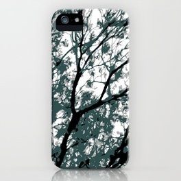 tree branch with green leaves abstract background iPhone Case