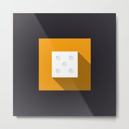"Dice ""five"" with long shadow in new modern flat design Metal Print"