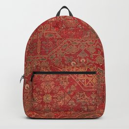 Bohemian Medallion II // 15th Century Old Distressed Red Green Colorful Ornate Accent Rug Pattern Backpack