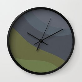 Abstract Velvet Grey Moon in the Night and Green Natural Scenery, Abstraction Artwork  Wall Clock