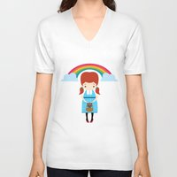 oz V-neck T-shirts featuring Dorothy Wizard of Oz by Steph Dillon