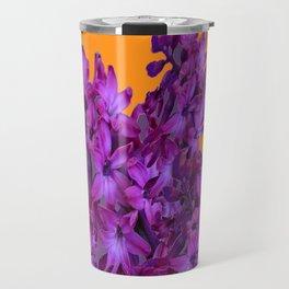 Decorative Purple Hyacinths Puce-Orange Color Art Travel Mug