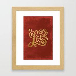 Love Script Red Framed Art Print