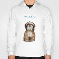 shih tzu Hoodies featuring Shih Tzu by Katherine Coulton