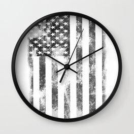 Old Glory BW Wall Clock
