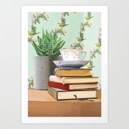 Tea and book love Art Print