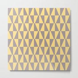 Mid Century Modern Geometric 315 Gray and Yellow Metal Print
