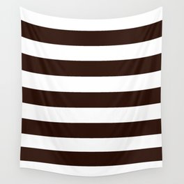 Root beer - solid color - white stripes pattern Wall Tapestry