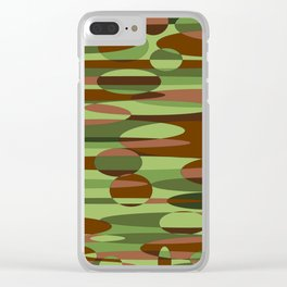 Trendy Green and Brown Camouflage Spheres Clear iPhone Case