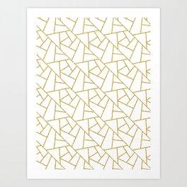 Gold and White Abstract Geometric Glitter Pattern Art Print