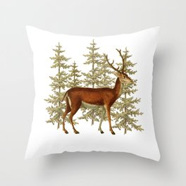 Wandering deer  Throw Pillow