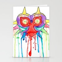 majoras mask Stationery Cards featuring Majoras Mask Splatter by ysocrazeh