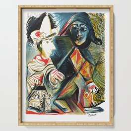 Pablo Picasso Le clown et l'Harlequin (The Clown and the Harlequin) 1971 Artwork, tshirt, tee, jerse Serving Tray