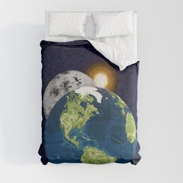 Earth Moon and Sun Comforters