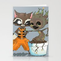 rocket raccoon Stationery Cards featuring Rocket Raccoon & Baby Groot by Whimsette
