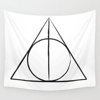 deathly hallows Wall Tapestries featuring The Deathly Hallows by A. Design