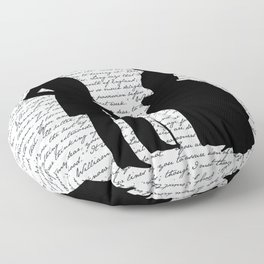 Pride and Prejudice design - White Floor Pillow