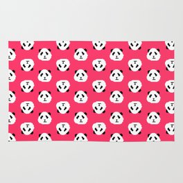Pink Pixel Panda Pattern Rug