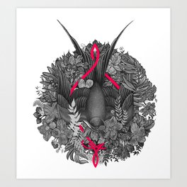 Bird and blossoms | black and grey Art Print